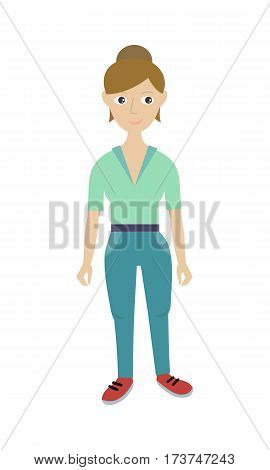 Housewoman. Cleaning service. Female member of the cleaning service staff in uniform. Worker of cleaning company. Successful cleaning business manager. Hotel charwomen isolated. Vector illustration