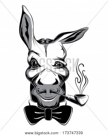 Glamorous Victorian Style Cartoon Snobbish Fashion Funny Donkey Club Emblem