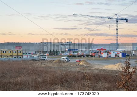 TYCHY, POLAND - FEBRUARY 27 2017: Construction of a new large shopping center