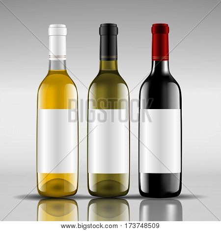 bottles of red and white wine vector illustration