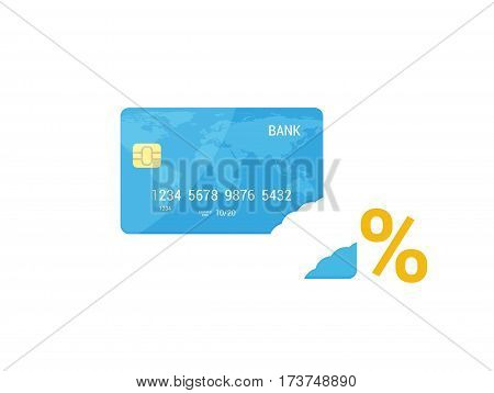 Credit Card without piece, Interest Rate vector concept. Flat design illustration.