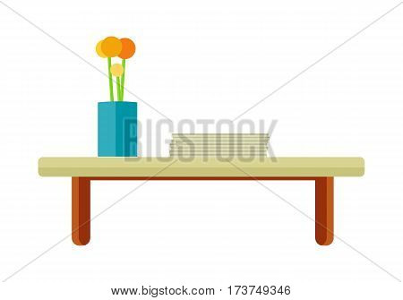 Wooden tea table with stack of paper and flower in pot. Orange flower in blue pot. Design element for home and office interior. Isolated object on white background. Vector illustration.