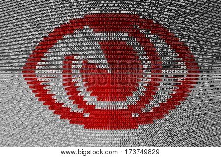 spyware in the form of binary code, 3D illustration