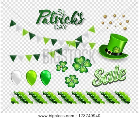 Set of illustrations for celebrating St. Patrick's Day. Leprechaun hat, garland of balloons., clover, flag and lettering.