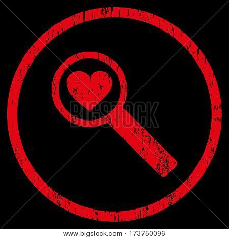 Find Love grainy textured icon for overlay watermark stamps. Rounded flat vector symbol with dust texture. Circled red ink rubber seal stamp with grunge design on a black background.