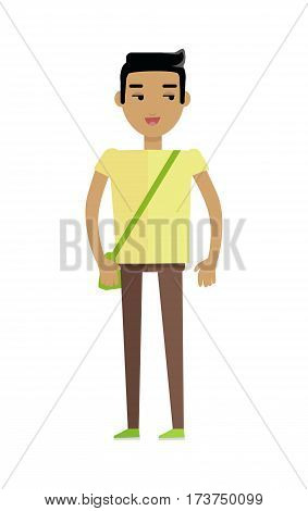 Young european man in yellow t-shirt and brown trousers with leather bag. Caucasian beautiful boy. Attractive teenager gentleman in casual clothes. Part of series of people of the world. Vector