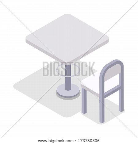 Chair and table isometric design. Dinner table chair isolated, isometric furniture, room interior, home furniture indoor and office desk vector illustration. White chair and kitchen table