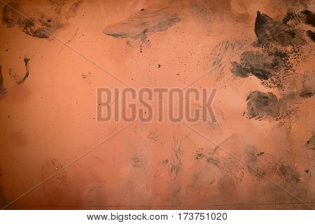 The texture of rusty metal with scratches and stains on the background.