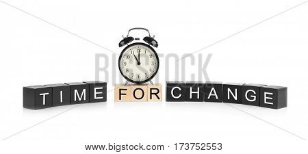 Wooden cubes with space for text and alarm clock on white background