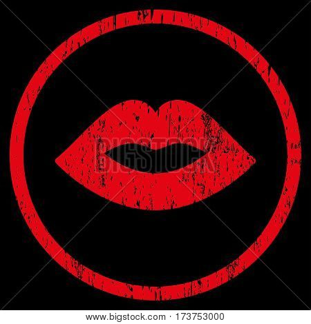 Lips grainy textured icon for overlay watermark stamps. Rounded flat vector symbol with scratched texture. Circled red ink rubber seal stamp with grunge design on a black background.