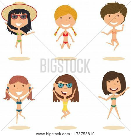 Summer cute female characters jumping on the beach vector illustration. Cheerful young girls make a jump on a white background. Happy teenagers on summer vacation.