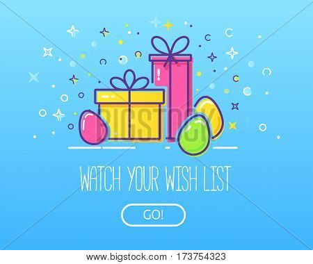 Website header vector template with gift boxes and easter eggs. Easy to use business template. Cute illustration of gift box present, greeting, surprise.
