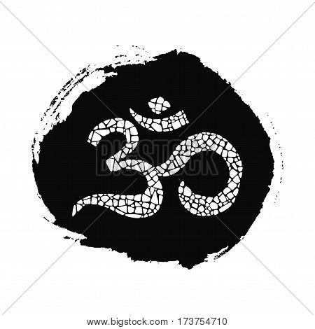 Om mosaic icon  on black ink drop. Om design element for eastern culture.