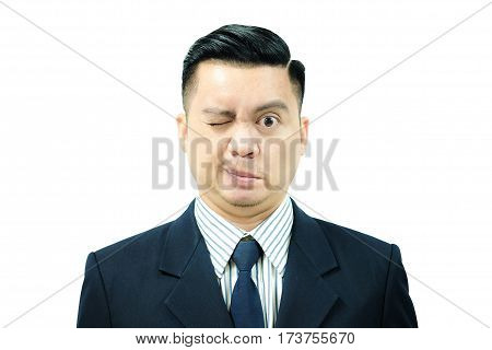 Asian man with Bell's Palsy Close eyes with only half face