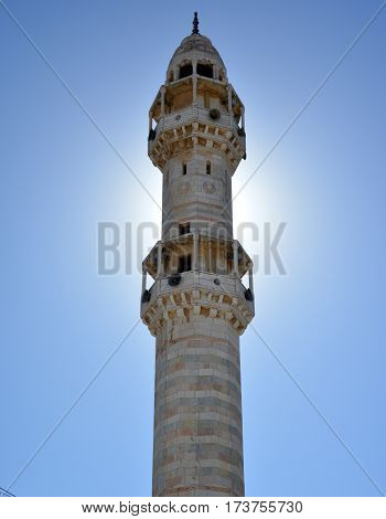 Bethlehem, Palestine. January 6Th 2017 - Minaret Of The Mosque In Front Of The Sun Light