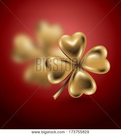Golden clover leaf vector illustration for St. Patrick day. Blured four-leaf on red background. Jewelry 3d design.