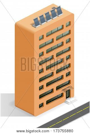 Residential building shaped like a ceramic building bricks. The architectural concept. Isometric. Vector graphics