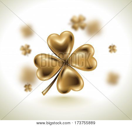 Golden clover leaf vector illustration for St. Patrick day. Blured four-leaf on light white background. Isolated jewelry 3d design.