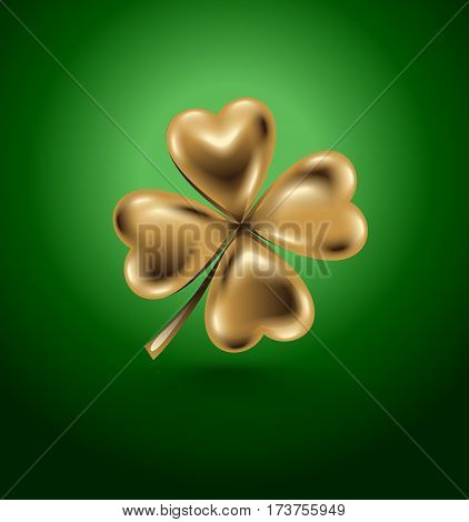 Golden clover leaf vector illustration for St. Patrick day. Isolated four-leaf on green background. Jewelry 3d design.