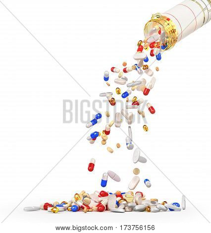 Open Pills Bottle with falling pills isolated on white background. 3d illustration