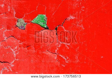 Texture stone background of red and green texture peeling paint on the old rough texture surface -peeling paint on old rough stone texture surface - texture background with peeling paint