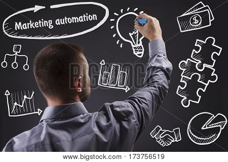 Technology, Internet, Business And Marketing. Young Business Man Writing Word: Marketing Automation