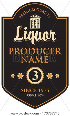 black label for liqueur in frame with building in retro style