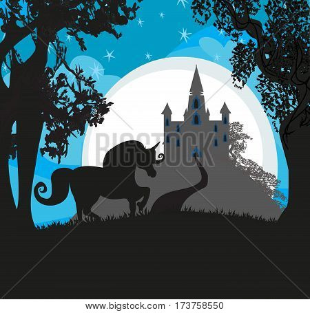 Castle and Unicorn at night landscape , vector illustration