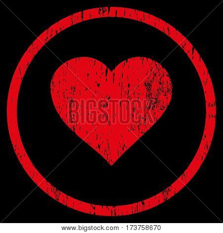 Valentine Heart grainy textured icon for overlay watermark stamps. Rounded flat vector symbol with scratched texture. Circled red ink rubber seal stamp with grunge design on a black background.