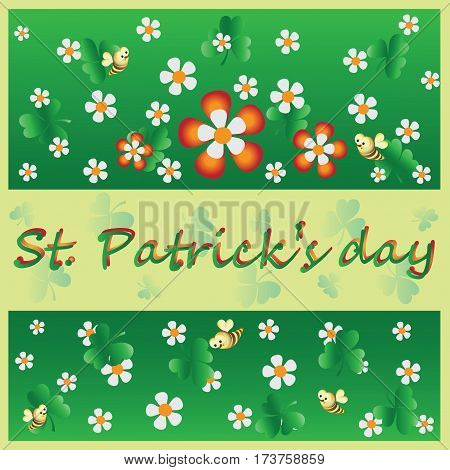 Decorative flowers, clover and a bee. St.Patrick 's Day. Vector Image. Design for greeting card, greetings, greetings, thematic illustrations.