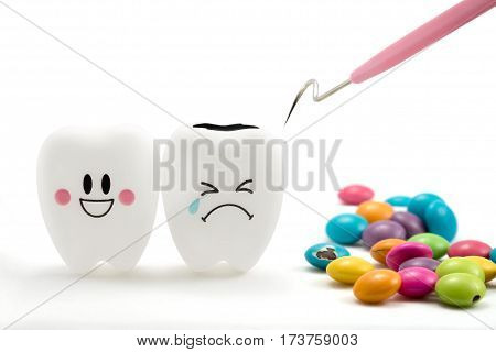 Teeth smile and crying emotion with dental plaque cleaning tool and Chocolate candy isolated on white background With clipping path teeth and tool