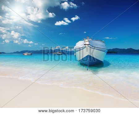 Tropical beach with white sand and azure sea