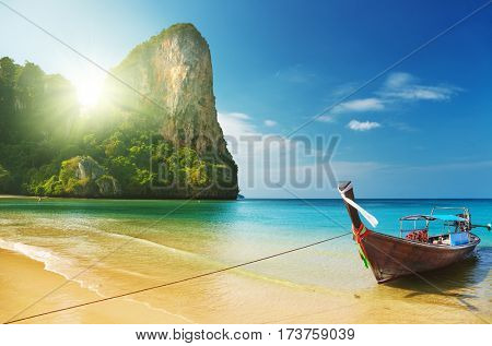 Tropical beach, traditional long tail boats, Andaman Sea, Thailand