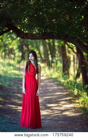 Wonderful sexy fashion model walking in a fantastical forest by footpath. Photo of sensual seductive woman in full length in luxury long red dress posing against bokeh trees background. Multi-racial Asian Caucasian girl. Fashionable toning. Creative compu