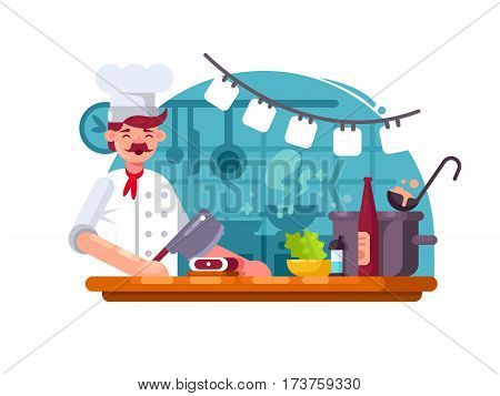 Chef cook in kitchen to prepared meat butcher knife. Vector illustration