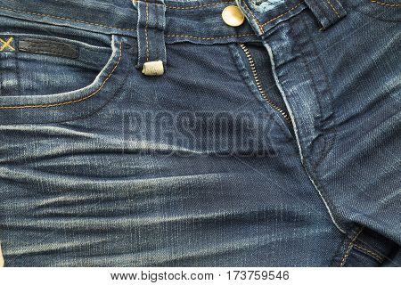 Rather Old Blue Jean Have Stripe And Zipper Textures