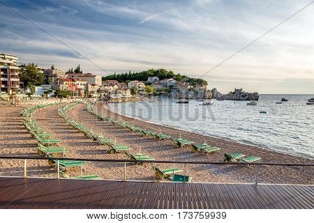 Przno, MONTENEGRO - SEPTEMBER 22, 2016:The beach in the bay Przno September evening, Montenegro.