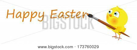 Cartoon funny chick writes Happy Easter caption, vector horizontal banner