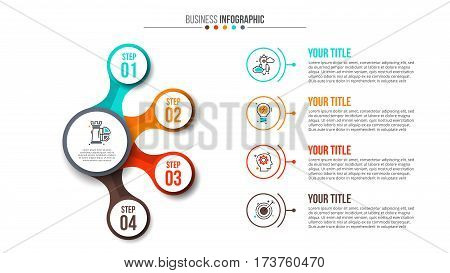 Business data visualization. Abstract flat elements of diagram with 4 steps, options, parts or processes. Vector business template for presentation. Creative concept for infographic. Process chart.