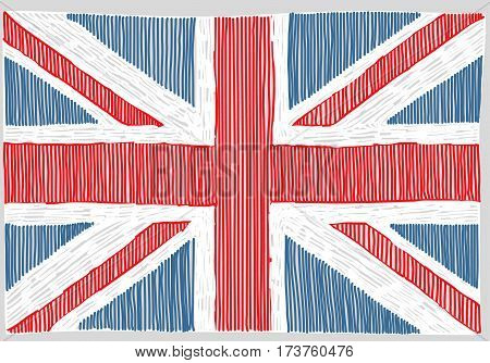 Hand drawn English flag. Concept of travel or study English.