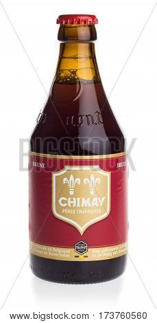 GRONINGEN, NETHERLANDS - FEBRUARY 24, 2017: Bottle of Chimay Red beer isolated on a white background