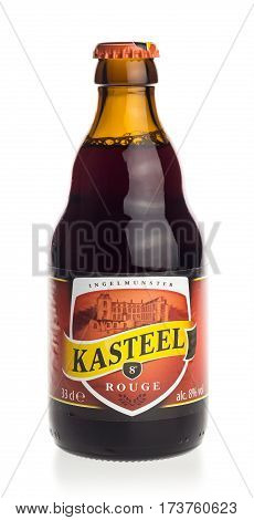 GRONINGEN, NETHERLANDS - FEBRUARY 24, 2017: Bottle of Kasteel Rouge fruit beer isolated on a white background