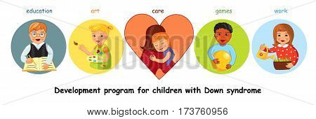 Development program for children with Down syndrome, education and art, care, work and games, Cartoon vector horizontal banner