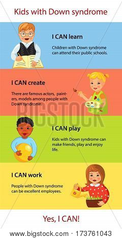 Some inspirational facts about children with Down syndrome, Cartoon vector infographics, I can, Ability, treatment and charity