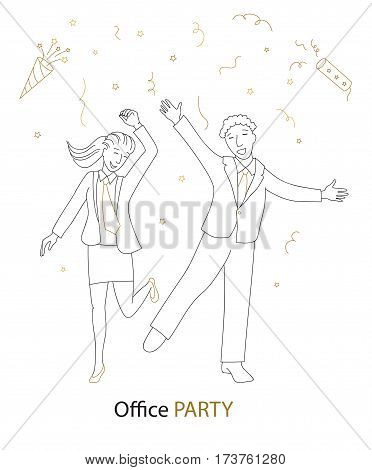 Office party, Happy man and woman in formal clothes dancing, cartoon vector illustration thin line style