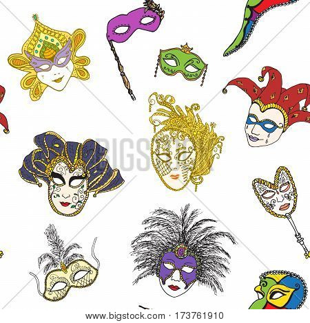 Venice Italy carnival masks seamless pattern. Hand drawn sketch Italian Venetian festival. Doodle Drawing background