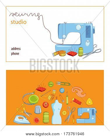 Sewing studio business card vector template, Hand sewn concept, cartoon style