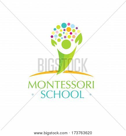Montessori School Creative Vector Kids Friendly Concept.