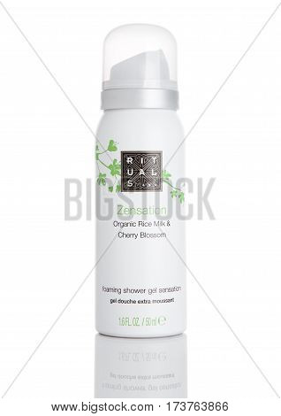 LONDON UK - FEBRUARY 28 RITUALS foaming shower gel metal container Zensation. Shot on white background with reflection