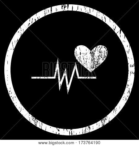 Heart Pulse Signal grainy textured icon for overlay watermark stamps. Rounded flat vector symbol with dust texture. Circled white ink rubber seal stamp with grunge design on a black background.